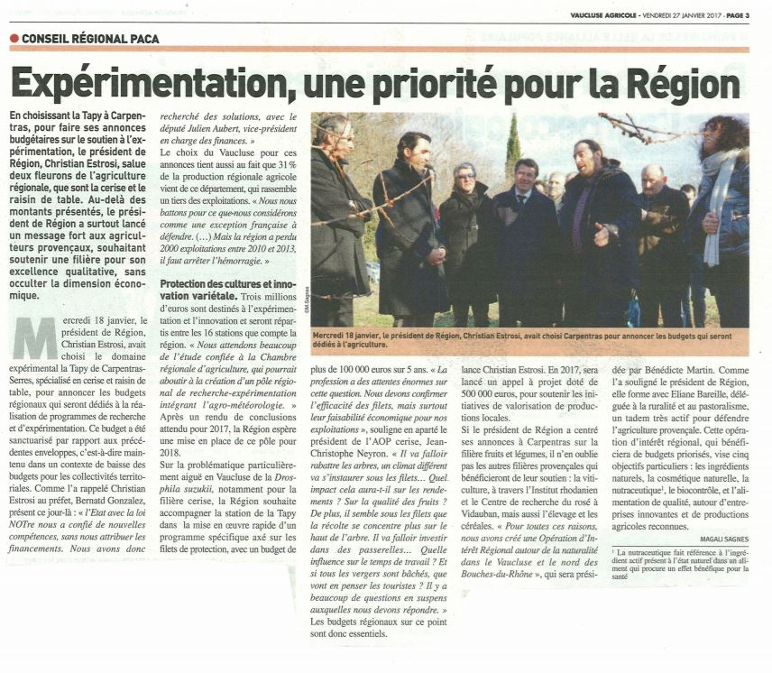 article vaucluse agricole